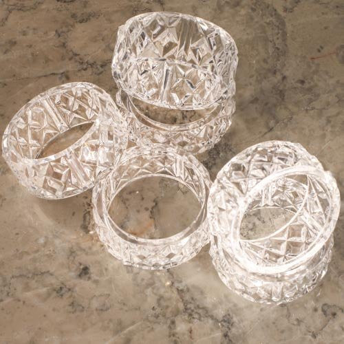 Group of 6 Crystal Look Acrylic Napkin Rings for Home and Holiday Decor