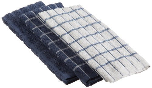 Ritz Terry Cotton Kitchen Towels, Federal Blue, 3-Pack