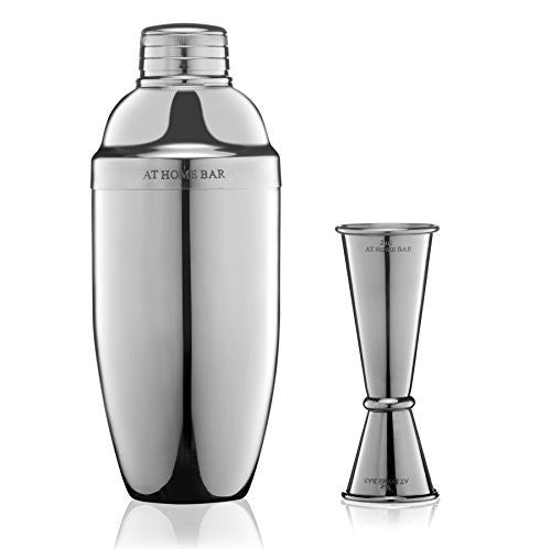 Premium 24oz Cocktail Shaker and Jigger with Measurement Markings - Professional Bar Set to Make Delicious Cocktails