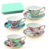 Tea Cup and Saucer Set of 4 with Gift Box , Floral Tea Cups, 8 Oz.Bone China Porcelain