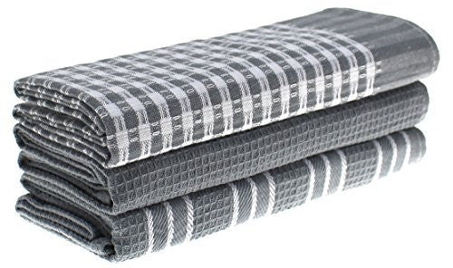 LZZY Grey Stripes Cotton Classic Kitchen Collection Dish Towels, Pack of 3, 18x25-Inch, Grey