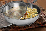 Stainless Steel Skillet with Glass Cover - 12 Inch - Premium Quality - 30 x 6.8 cm - Multipurpose Use for Home Kitchen or Restaurant - Chef's Choice