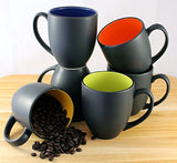 ITI Ceramic Hilo Bistro Coffee Mugs with Pan Scraper, 14 Ounce (6-Pack, Assorted)