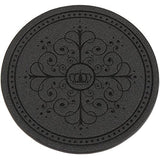 HappyDavid Leather Drink Coasters Cup Mat Set of 6 with Coaster Holder for Fine Wine Beer or Any Beverage Use on Bars or Fine Furniture in Your Kitchen (black round)