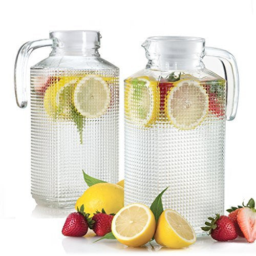 Set of 2 Glass Fridge Pitchers with Lid, Handle and Spout, Diamond Cut Design 1.8 Liter each