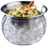Perlli - Party Serving Bowl Dish with Ice Container Includes Stainless Steel Chilled Dip Bowls - Crystal clear acrylic Ice Bowl Supplies - 22-OZ