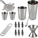 Expert Cocktail Shaker Home Bar Set - 14 Piece Stainless Steel Bar Tools Kit with Shaking Tins, Flat Bottle Opener, Double Bar Jigger, Hawthorne Strainer, Shot Glasses, Bar Spoon, and 6 Pour Spouts.