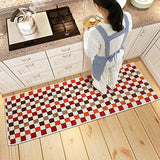 "MustHome Mosaic Pattern 2 Piece Kitchen Rugs Set Non Slip Latex Backing Kitchen Mat 17""x23""+17""x47"" (Red)"