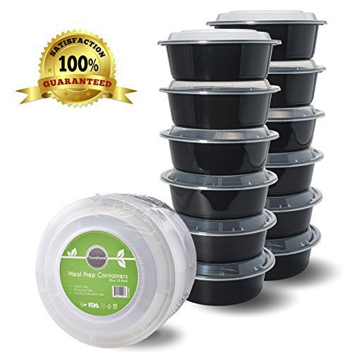 "Meal Prep Containers with Lids, 32oz. (7"" wide) Round Microwaveable Black Plastic Food Storage Container, Set of 12 - DuraHome™"