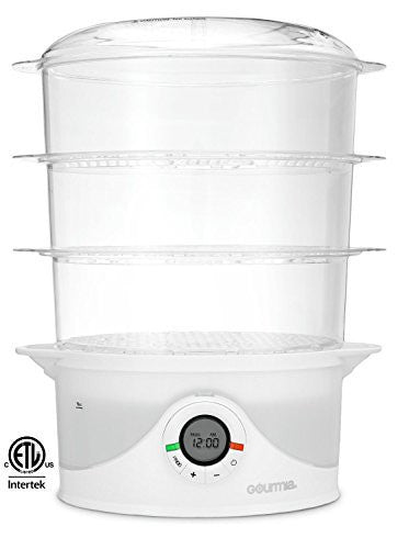 Gourmia GFS300 SteamTower300 Electronic Digital 3 Tier Vegetable and Food Steamer, 9.5 quart, Clear E-Recipe Book Included