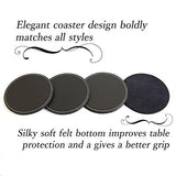 "Fine Leather Coaster Set (4pc), Premium Tabletop Coasters for Wine Glasses, Drinks and Beverages, Wide Diameter (4""), Water Repellent and Non-Slip Surface, Bold and Classy for Decorations"