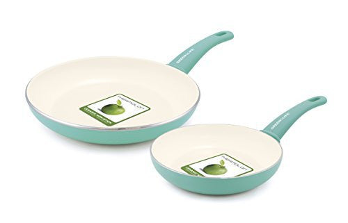 "GreenLife Soft Grip Ceramic Non-Stick 7"" and 10"" Open Frypan Set, Turquoise"