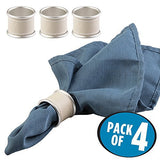 mDesign Napkin Rings for Home, Kitchen, Dining Room - Set of 4, Taupe/Satin