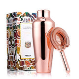 Homestia Rose Golden Stainless Steel French Martini Cocktail Shaker and Strainer Set 18.6oz