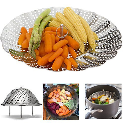 "IHOVEN Vegetable Steamer - 5.3"" to 9.3""- 100% Stainless Steel Foldable Food Vegetable Steamers Basket Kitchen Cooking Veggie Collapsible Insert Healthy Adjustable Steamer With Feet"