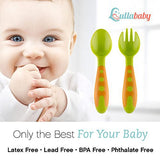 Lullababy Baby Fork and Spoon Set Baby Toddler Utensils with Bonus Travel Carrying Case, Travel Safe Training Perfect Size Feeding Spoon and Fork Set BPA Free, Great Baby Shower Gift Baby Registry