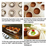 T-TOPER 6 Cup Nonstick Carbon Steel Canele Cake Mold Cupcake Pan, Easy To Clean, Double Sides Avaliable, Heat Resistant Up To 475 Degrees