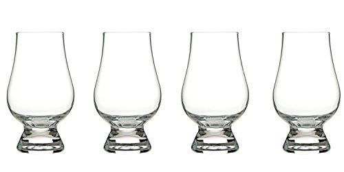 "Handmade/Mouth-blown Whiskey Nosing Glasses Glencairn Style Set of 4 Presented in an Elegant Designer Classic-black Gift-box. Size 4.6"" x 2.5"" 6.25 oz."