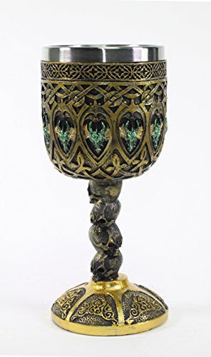 Mythical Bronze Royal Dragon Wine Goblet Skulls Medieval Collectible Magical Halloween Party Home Decor Gift