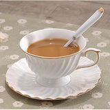 Porcelain Tea Cup and Saucer Coffee Cup Set with Saucer and Spoon 20 pc, Set of 6 SI-STW-W