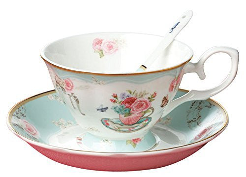 Jusalpha® Vintage Rose Bone China Light Blue Tea Cup and Saucer Set with Spoon-Coffee Cup-Coffee Mug-FLTCS06 (Blue)