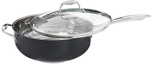 KitchenAid KCS60CFOB Stainless Steel 6.0-Quart Chef's Pan with Lid Cookware - Onyx Black