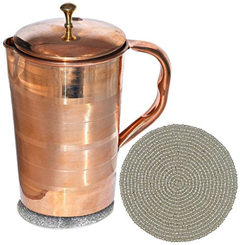 Pure Copper Jug with Lid for Health Benefits Indian Drinkware, Capacity 1.6 Litre
