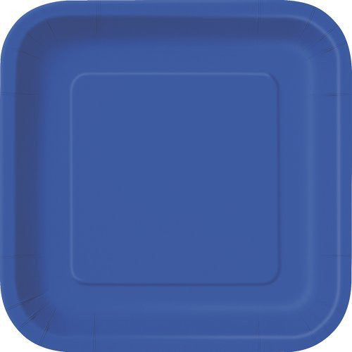"Square Dessert Plates 6.875"" Royal Blue 16 Count"