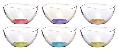 Mini Colored Glass Wavy Serving/Prep Bowls, 10 1/2 Ounce, Set of 6