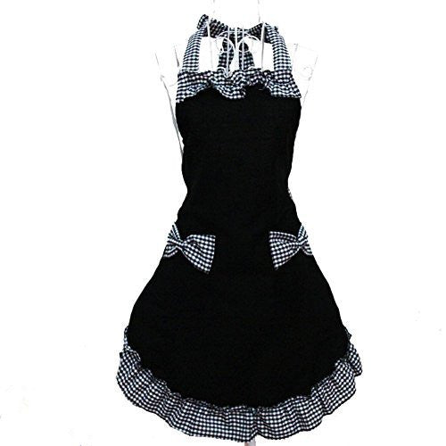 FASHION ALICE Cotton Cute Retro Lady's Kitchen Flirty Women's Aprons with Pockets Black Patterns for Christmas Present, Machine Washable, Cooking or Baking Apron