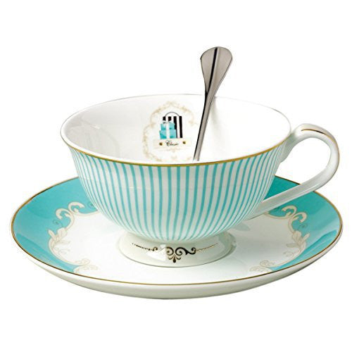 Jusalpha Vintage Blue Bone China Teacup Spoon and Saucer Set TCS01