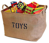 "Jute Storage Bin 17 x 13 x 10"" perfect for Toy Storage. Storage Basket for organizing Baby Toys, Kids Toys, Baby Clothing, Children Books, Gift Baskets."