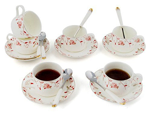 Porcelain Tea Cup and Saucer Coffee Cup Set with Saucer and Spoon 18 pc, Set of 6 TC-ZSMG