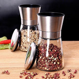 Premium Salt and Pepper Grinder Set- Brushed Aluminium Salt and Pepper Shakers - Modern Salt and Pepper Shaker Set With Glass Body- Adjustable Coarness Mills - Easy to Refill Grinders