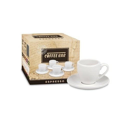 Konitz Coffee Bar Espresso Cups and Saucers, 2-Ounce, White, Set of 4