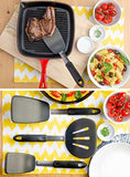 StarPack Utra Flex Silicone Turner Spatula - Bonus 101 Cooking Tips (Gray Black)