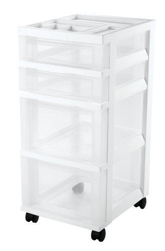 IRIS 4-Drawer Storage Cart with Organizer Top, White