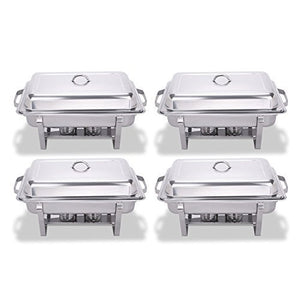 FoodKing Chafing Dish Set Of 4 Stainless Steel Chafer Full Size 8 Quart Dishes For