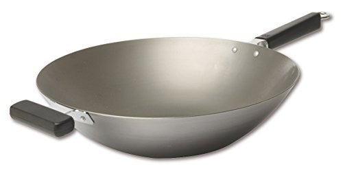 Joyce Chen 22-0060, Pro Chef Flat Bottom Wok Uncoated Carbon Steel, 14-inch