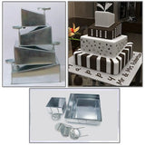 Euro Tins Multi Layer Cake Pans Mini Topsy Turvy Square 4 Tier Wedding Cake Pan - Cake Tin Set with Detachable Stand