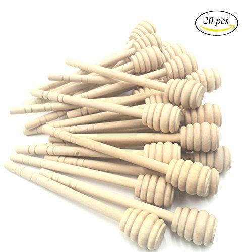 Mmei Set of 20 6 Inch Portable Wooden Jam Honey Dipper Honey Sticks for Honey Jar Dispense Drizzle Honey