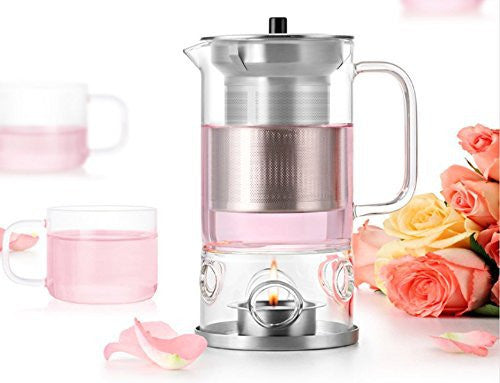 Glass Teapot with Infuser and Warmer