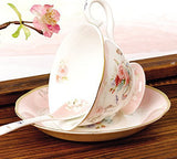 Jusalpha® Vintage Rose Bone China Pink Tea Cup and Saucer Set with Spoon-Coffee Cup-Coffee Mug-FLTCS06
