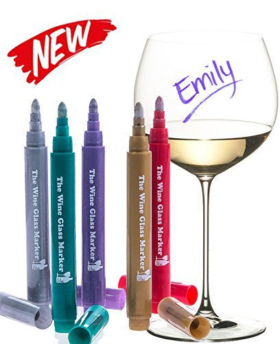 The Original Wine Glass Markers - (Set of 5 Wine Markers) - Vibrant Colors - Wine Glass Charms - Fun Wine Accessories - Write on any glassware - Easy Erasable - 100% Satisfaction Guarantee