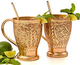 Moscow Mule Pure Copper Mug Sets - Bonus Copper Straws/Stir Sticks for Cocktails, Juleps & Russian Mules. Kamojo Embossed Gift Set of 2