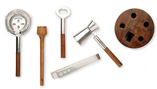 Francois et Mimi Stainless Steel Cocktail Bar Tool Kit Set; Includes Ice Tongs, Muddler, Stirring Spoon, Strainer, and Bar Key / Bottle Opener with Unique Wood Storage Rack