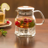 Ovente 17oz Heat Tempered Glass Teapot with Mesh Filter and Glass Teapot Warmer (FGB17T)