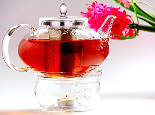 Glass Teapot Harmony, 42oz/1242ml with Tea Warmer Cozy Lead Free Special Glass No Drip by Tea Beyond