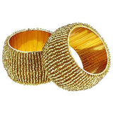 Handmade Indian Gold Beaded Napkin Rings - Set of 6 Rings