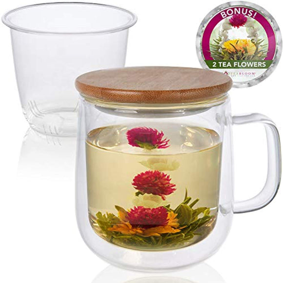 Teabloom Tea-For-One Brewing Mug Set – Large Insulated Double Wall Glass Mug, Glass Infuser, Bamboo Lid/Coaster – For Loose Leaf Tea & Fruit Infused Water – 15 oz (450 ml) – 2 Blooming Teas Included